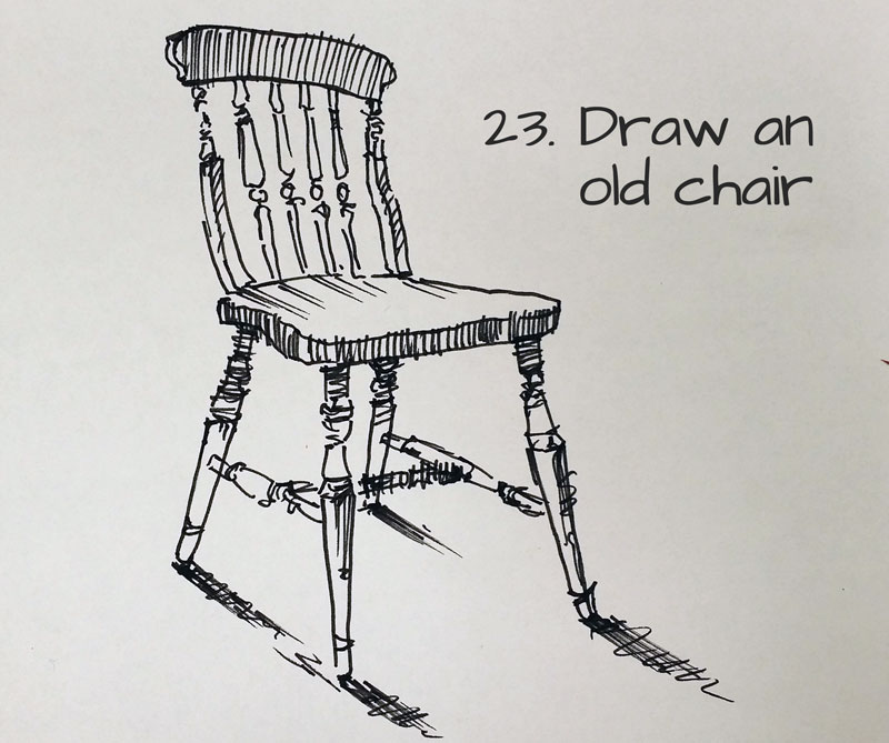 Draw an old chair #23 - Idea for a sketchbook