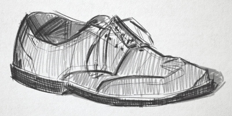 Gesture drawing of a shoe