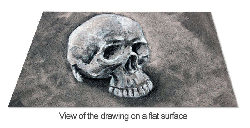 View of a drawing on a flat surface