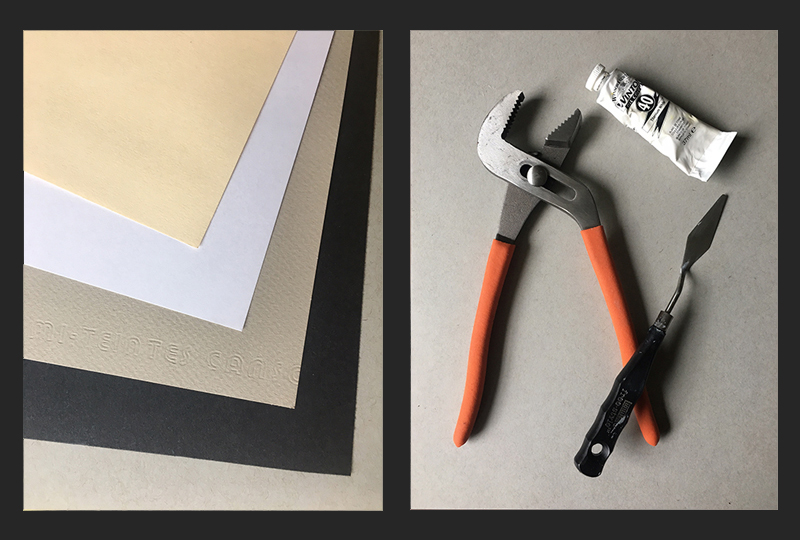 Paper selection and still life composition