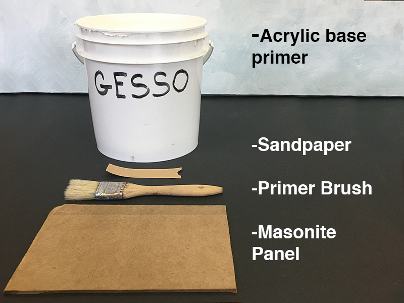 Materials for painting on panel - gesso, a brush, a wooden panel and sandpaper