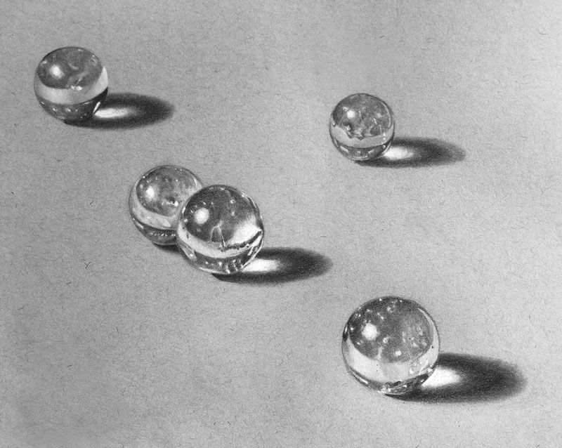 Drawing Marbles with Graphite and White Charcoal
