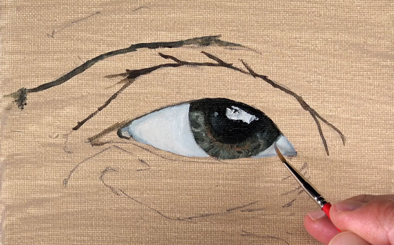 Painting the whites of the eyes