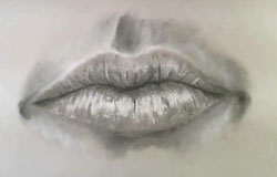 Charcoal drawing of a mouth finished