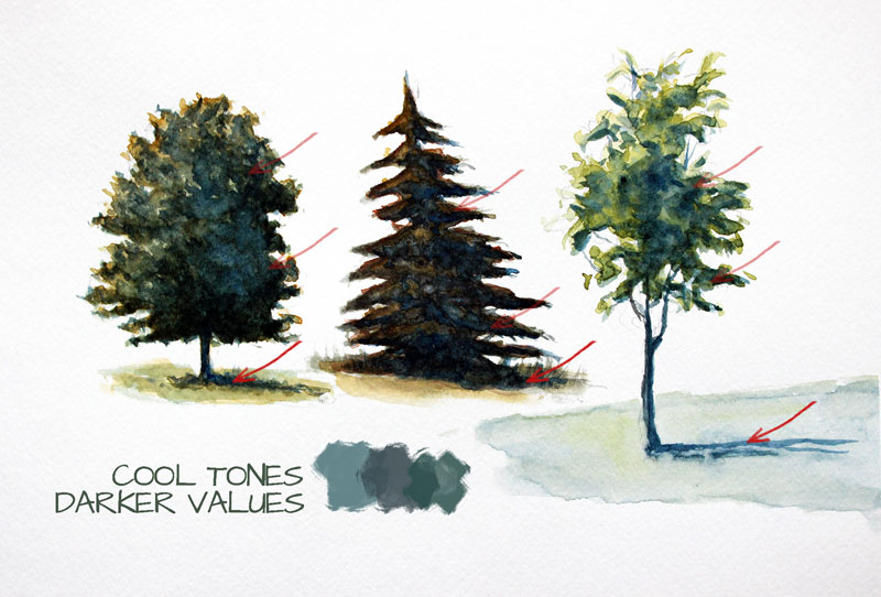 Cool tones when painting trees