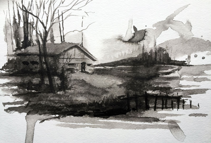 Creativity Exercise with Ink Wash Result