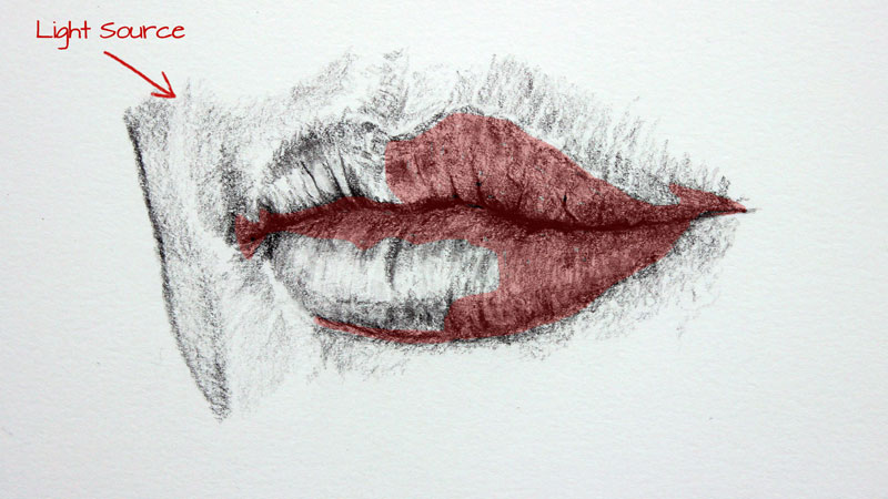 how to draw side view lips