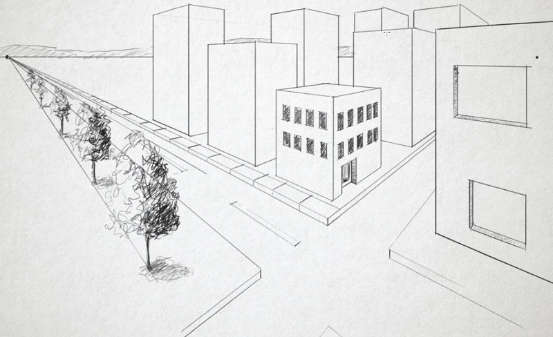 Perspective Drawings Of Buildings two point perspective-how to use linear perspective
