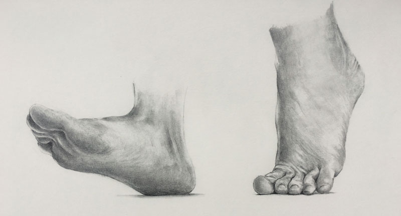 Drawing of feet walking