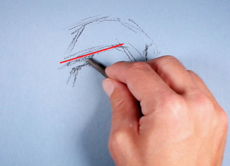 Drawing the brow line in a portrait