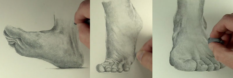 Drawing the texture of the feet