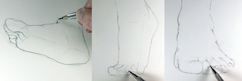 The outlines of the feet