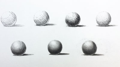 Mark making and blending with graphite pencils