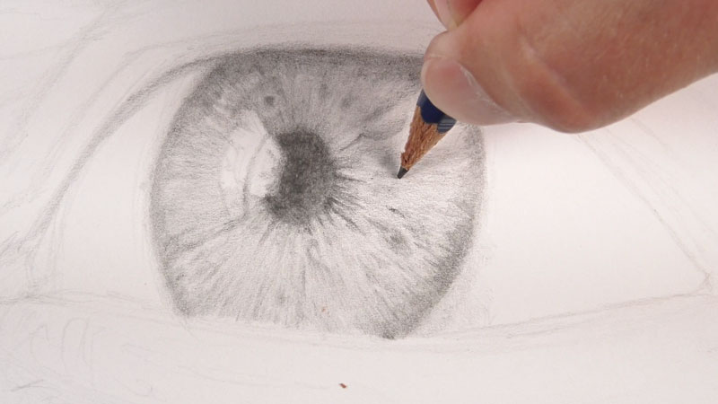 Drawing the iris around the pupil