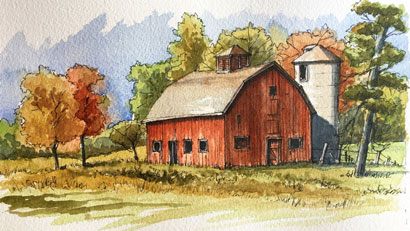 Line and wash landscape lesson
