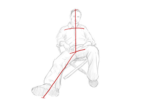 How to draw a person sitting down step 2 - line for shoulders