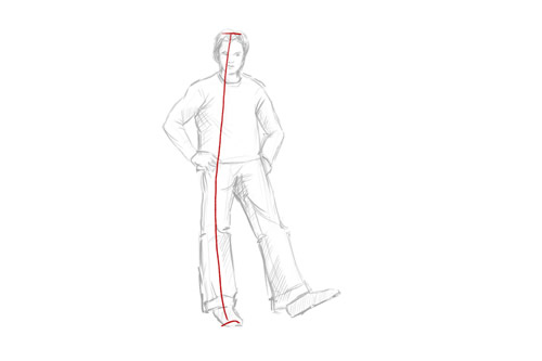 How to draw a person standing head to feet