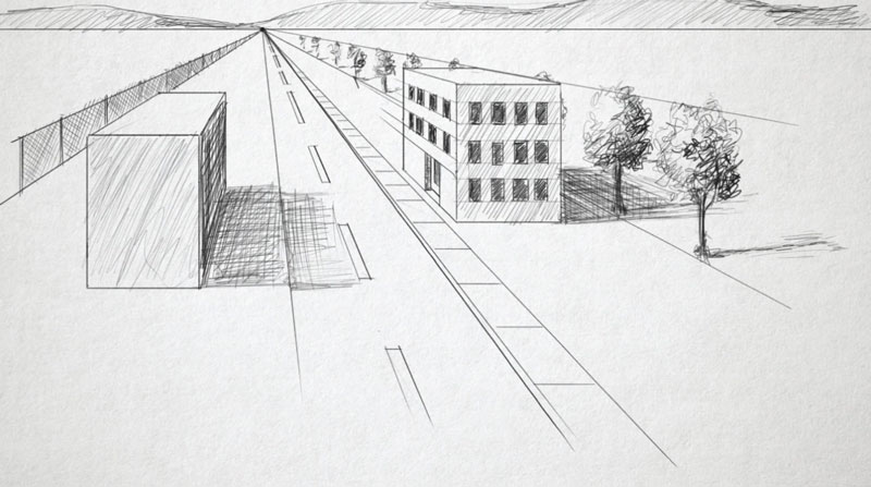 One point perspective landscape