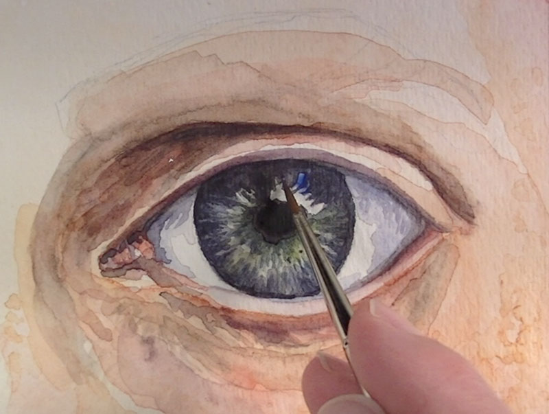 Ultramarine is added to the highlights in the eye