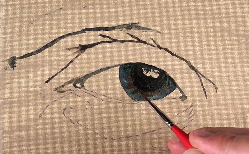 Filling in the pupil and the iris with initial paint applications