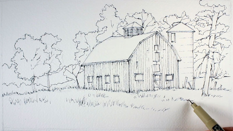 Line Drawing With Watercolor : Line and wash lesson landscape
