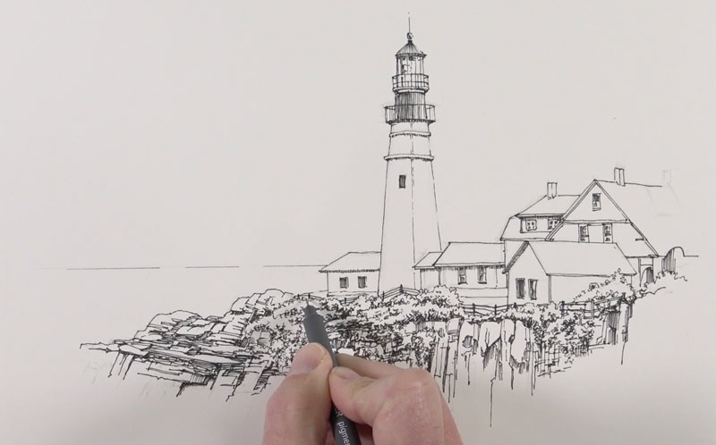 Pen and ink sketch of a lighthouse