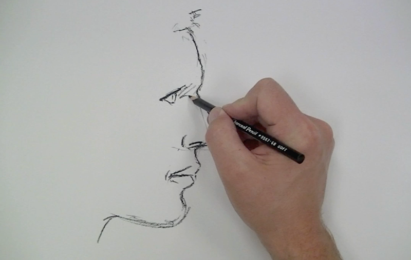 Line Drawing Face Profile : Powdered charcoal portrait sketch