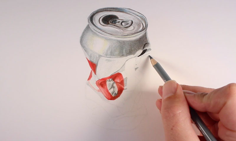 Realistic colored pencil drawing step 2