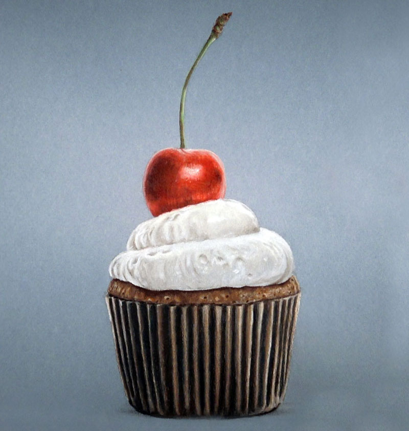 Realistic Drawing of a Cupcake