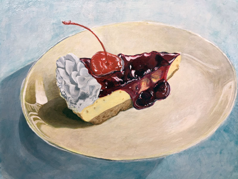 Acrylic painting of a cake