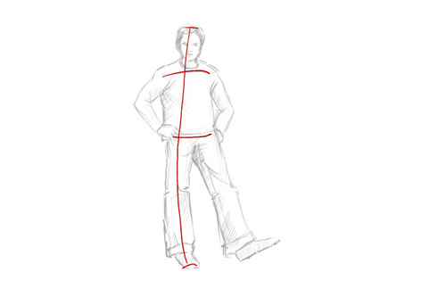 How to draw a person standing step 2 waist and shoulders