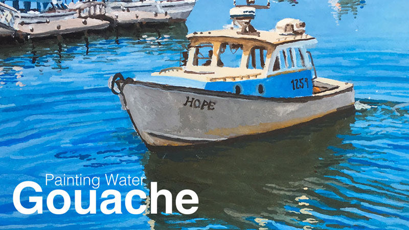 How to paint water with gouache