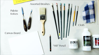 Acrylic painting tools and materials
