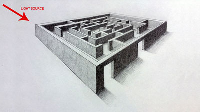 How to draw a 3D maze using 2 point perspective