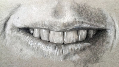 How to draw a realistic mouth and teeth