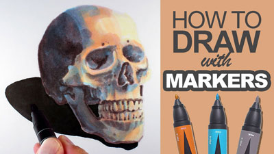 How to draw with markers - skull