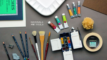 Watercolor painting materials and tools