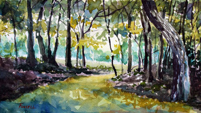 Watercolor Woodland Landscape Part 1