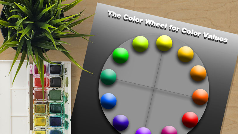 Color wheel chart with different values