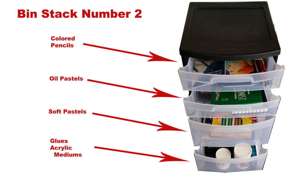 Art Supply Organization Bin Stack