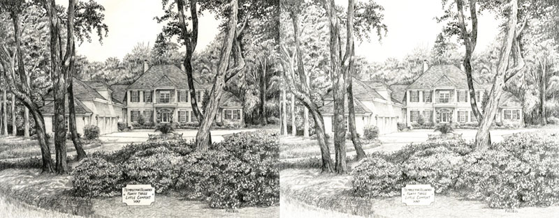 The drawing on the left has a full range of value while the drawing on the right is made up of mostly mid tones and tints.