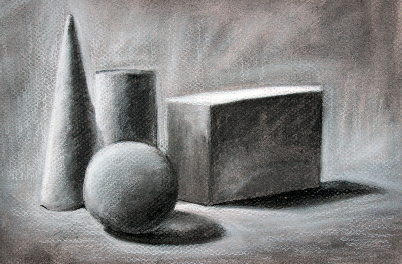 Draw forms with charcoal