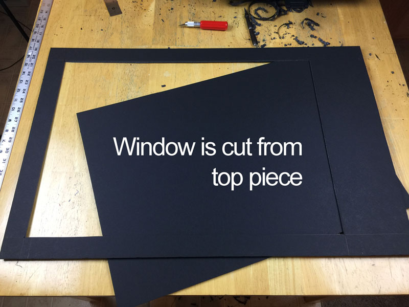 Window cut into top piece