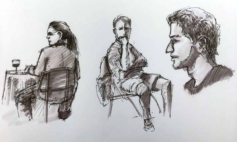 A few quick sketches from life