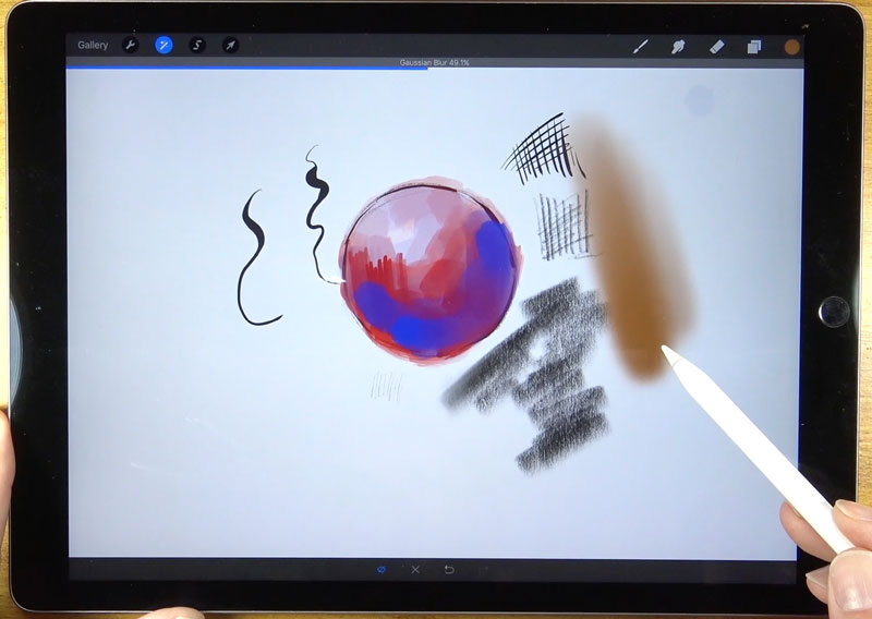 Adding Gaussian Blur Procreate