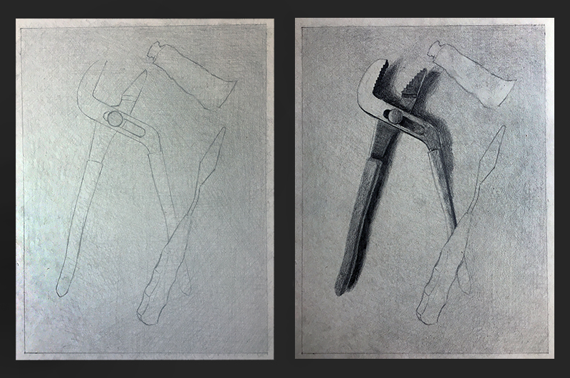 Grey paper drawing steps