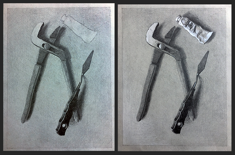 grey paper drawing stages