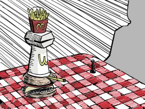 Drawing of fast food as a chess piece