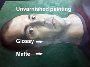 Varnish paintings to create a unified surface