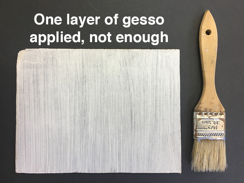 gessoed panel and brush